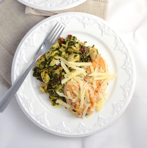 Low carb recipe idea Spinach Artichoke Chicken by food blogger Simple Seasonal
