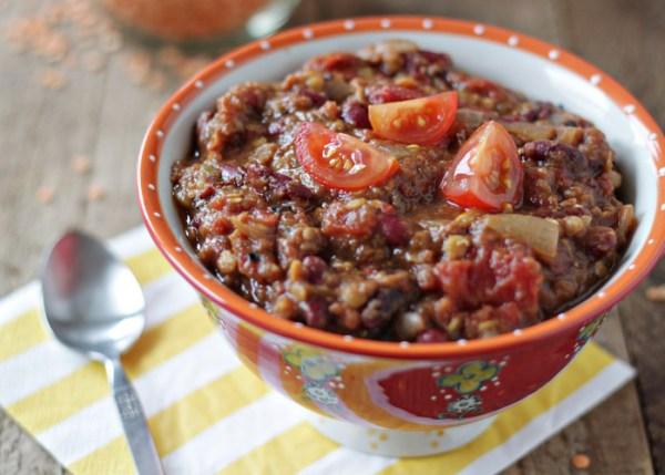 Crock Put Pumpkin Red Lentil Chili by The Kitchen Treaty
