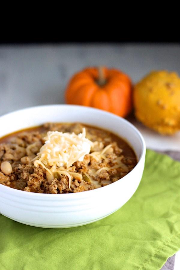 Turkey White Bean Pumpkin Chili Crockpot Recipe by A Nerd Cooks
