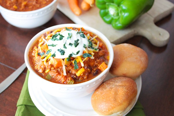 Veggie Loaded Turkey Crockpot Chili Recipe by Sunny Side Ups