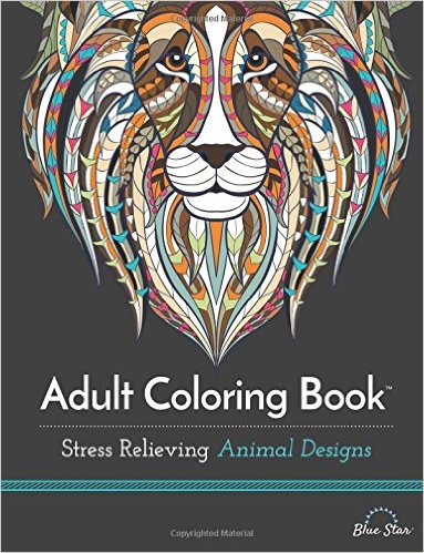Adult Coloring Book- Stress Relieving Animal Designs