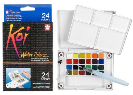 Sakura XNCW-24N 24-Piece Koi Assorted Water Colors Field Sketch Set with Brush