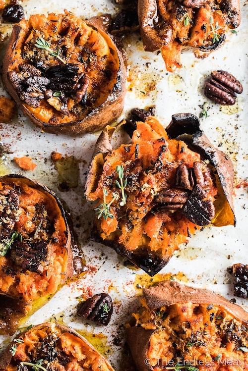 Smash Sweet Potatoes - Whole 30 Thanksgiving Recipes