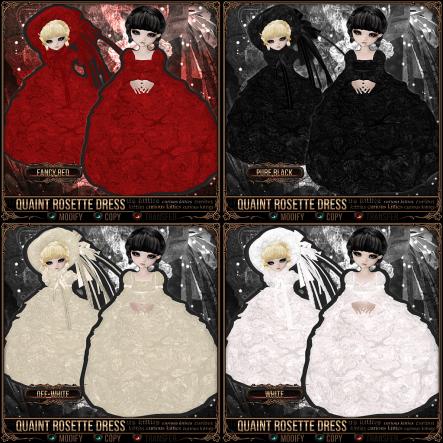 Quaint Rosette Dress - Fancy Red, Black, Off-White, White