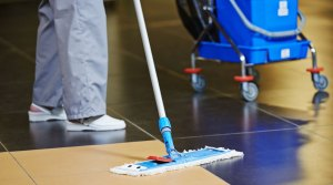 Person mopping a tile floor.