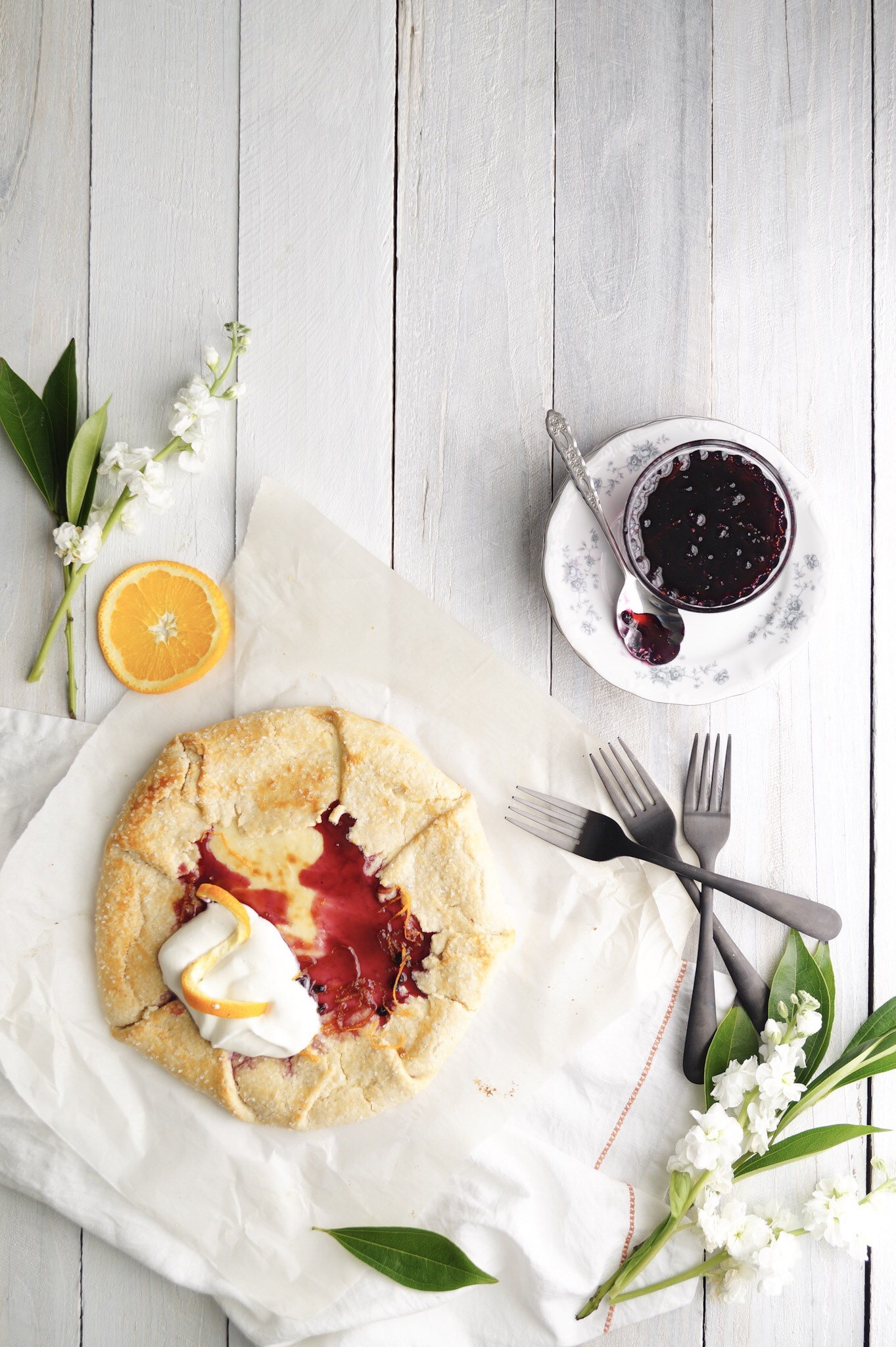 cream cheese galette with blueberry sauce: A Messy Bun Kitchen cream cheese dessert recipes, Christmas brunch,