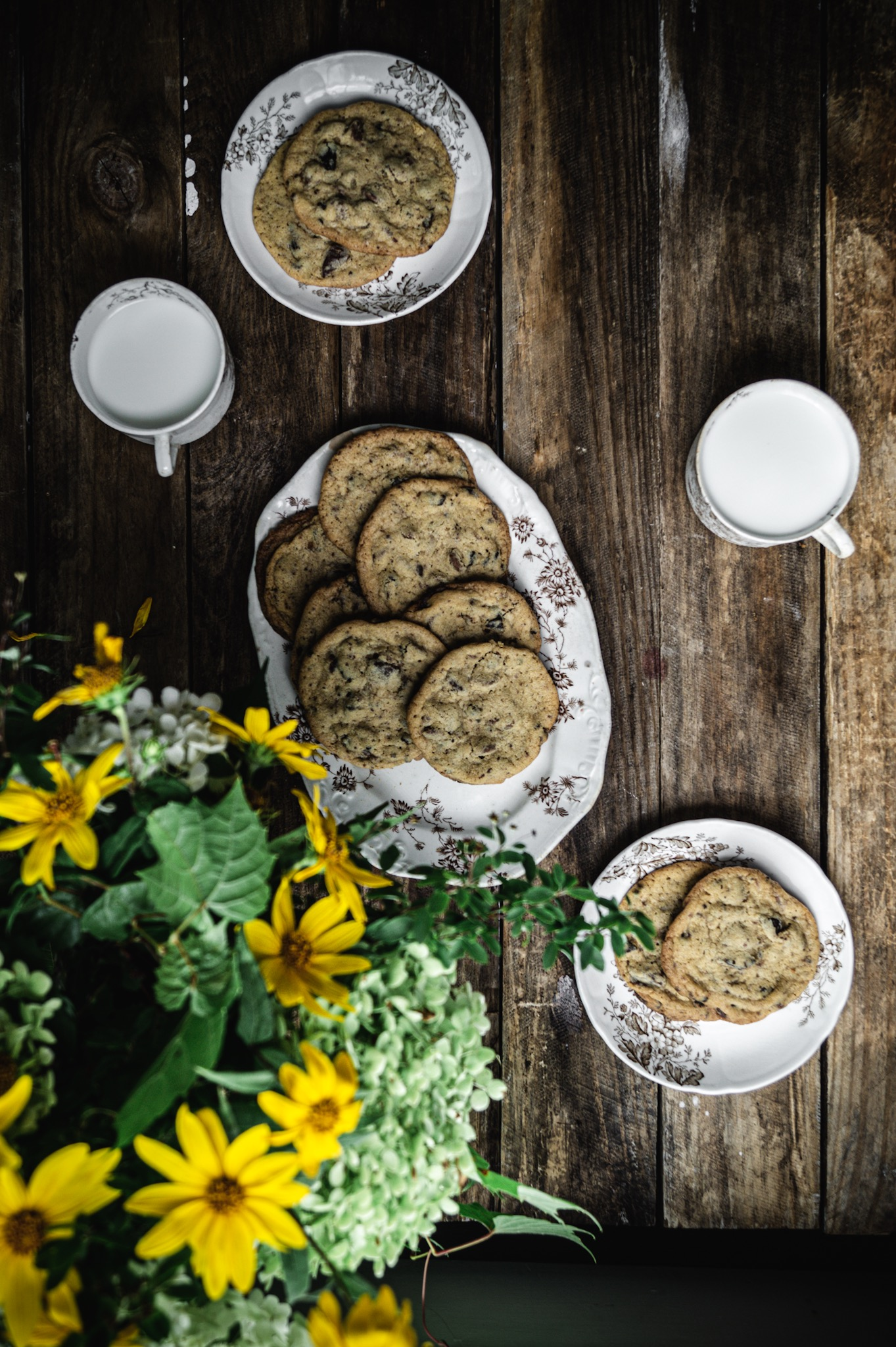 cold milk warm cookies and a bouquet of wild flowers