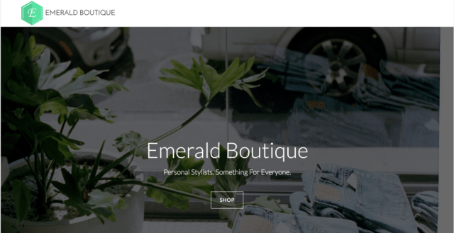 Screenshot of emerald boutique website