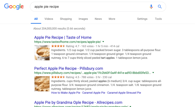Screenshot of search results for the keyword 'apple pie recipe'