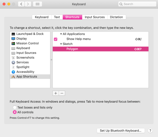 Screenshot of completed custom keyboard shortcut for Sketch
