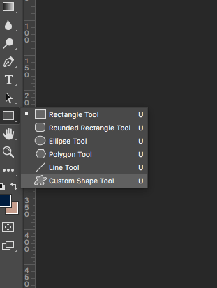 Screenshot of how to find the custom shape tool in photoshop