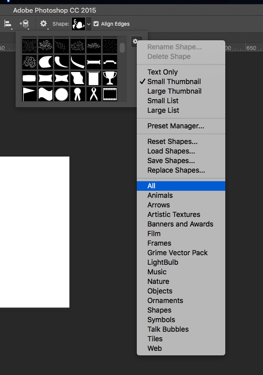 Screenshot of how to view all custom shape options in photoshop