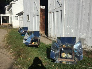 Photo of three Solar Cookers