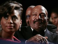 Jim Brown listens to Obama at the National Action Network's Keepers of the Dream Awards Gala in New York