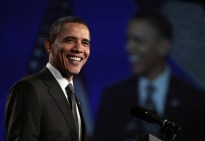 Obama speaks as he attends the National Action Network's Keepers of the Dream Awards Gala in New York