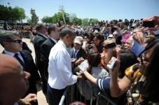US President Barack Obama signs a woman'