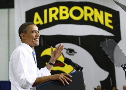U.S. President Barack Obama speaks to troops at Fort Campbell in Kentucky