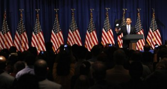 U.S. President Barack Obama speaks at a Democratic National Convention fundraiser in Philadelphia