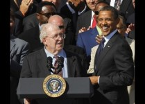 U.S. President Barack Obama laughs with Buddy Ryan at the White House in Washington
