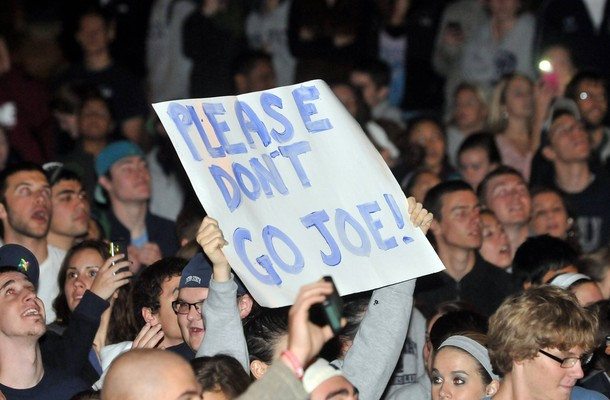 Penn State University students show support for coach Paterno as they take to the streets in State College