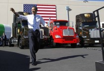 U.S. President Barack Obama arrives at a UPS facility in Las Vegas