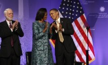 U.S. President Obama and first lady Michelle attend the ground breaking ceremony for the Smithsonian National Museum of African American History and Culture in Washington