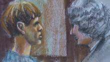 Sketch of Dylann Roof with counsel on Dec. 9, 2016. (Source: Robert Maniscalco)