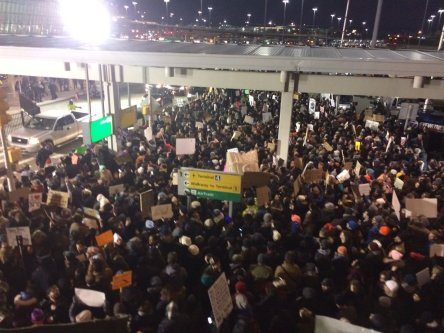Protesters assemble at John F. Kennedy International Airport in New York, Saturday, Jan. 28, 2017 after earlier in the day two Iraqi refugees were detained while trying to enter the country.