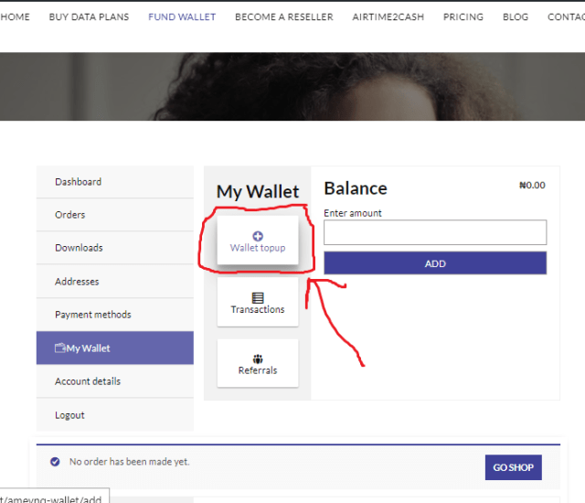 Click TopUp Wallet to fund wallet