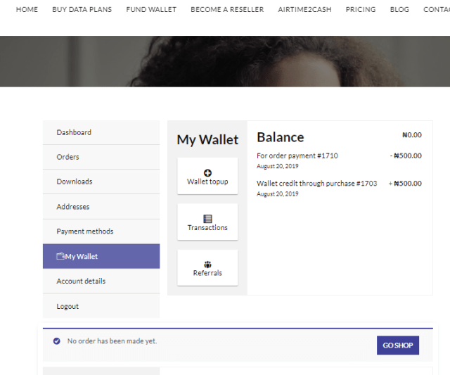 Go to My Wallet to fund wallet