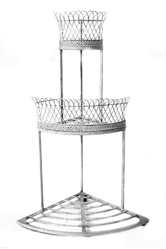 CORNER PLANT STAND, ANTIQUE FRENCH, WIREWORK & WROUGHT