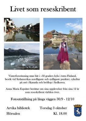 Travel talk in Arvika, Sweden, 3rd of October
