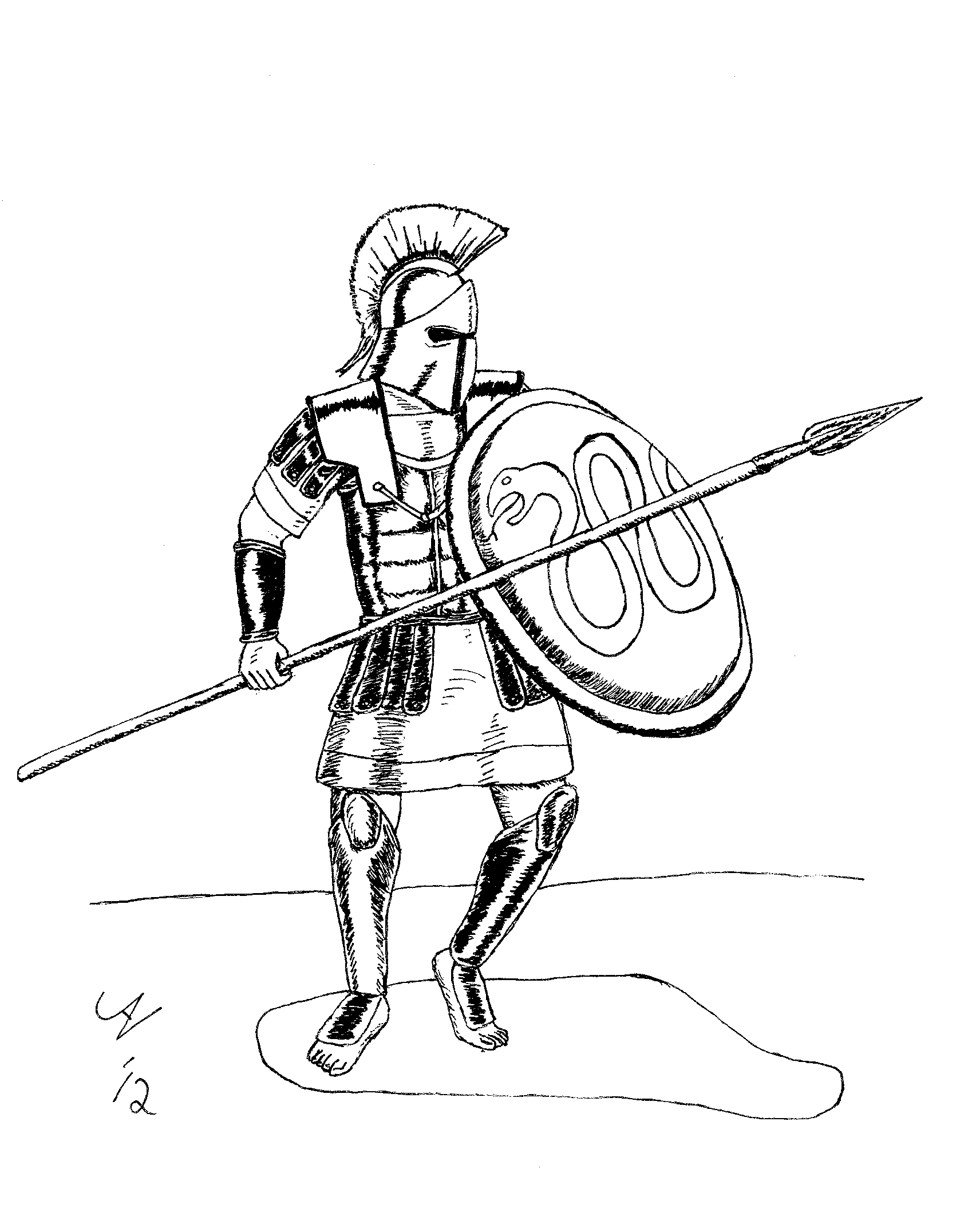 greek soldiers coloring pages