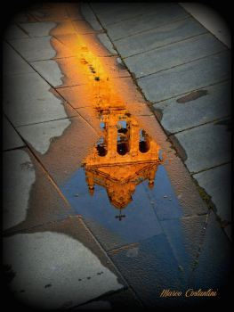 Reflection of St. Michael the Archangel spire (Grammichele)