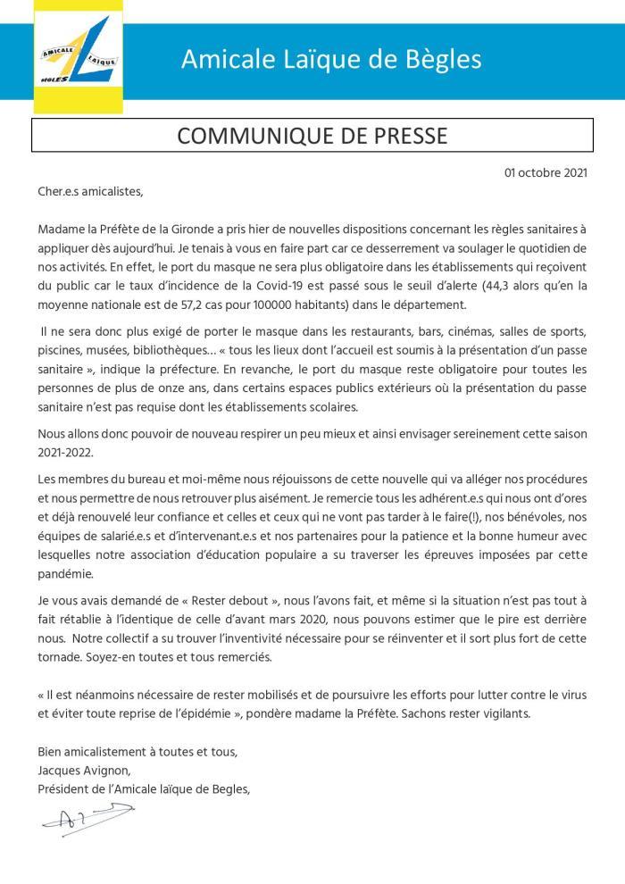 Communiqué de Presse – 01.09.2021