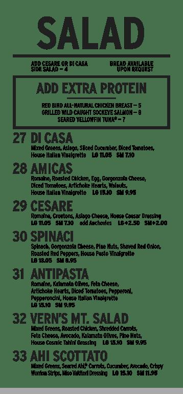 Amicas Salad menu