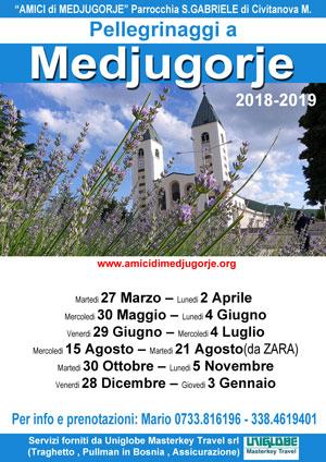 Date Pellegrinaggi a Medjugorje per l'anno 2018