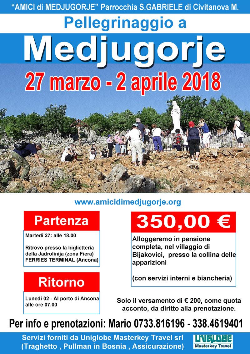 Pellegrinaggio a Medjugorje dal 27 Marzo al 2 aprile 2018 (Pasqua)