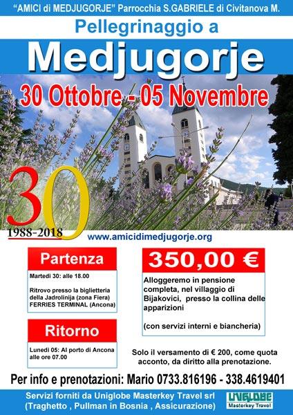 Pellegrinaggio a Medjugorje dal 30 ottobre al 05 novembre 2018