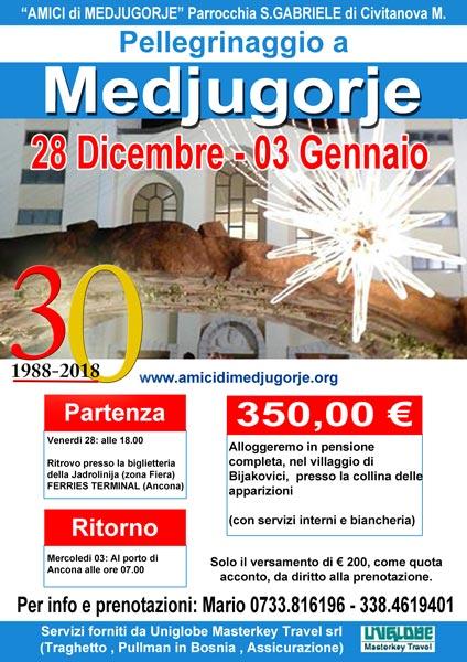 Pellegrinaggio a Medjugorje dal 28 Dicembre 2018 al 03 Gennaio 2019