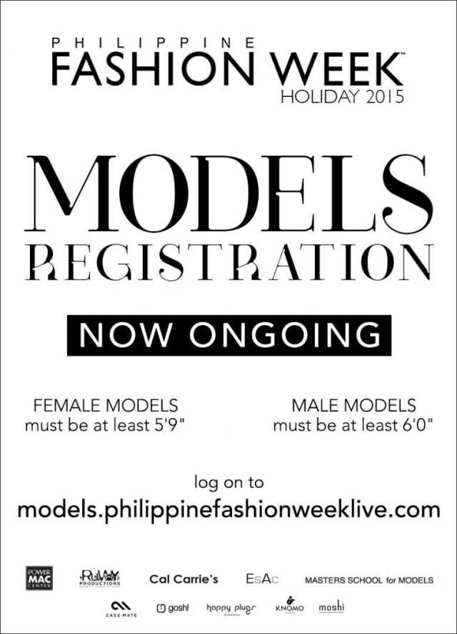 Philippine Fashion Week Holiday 2015 Models Registration Now Ongoing