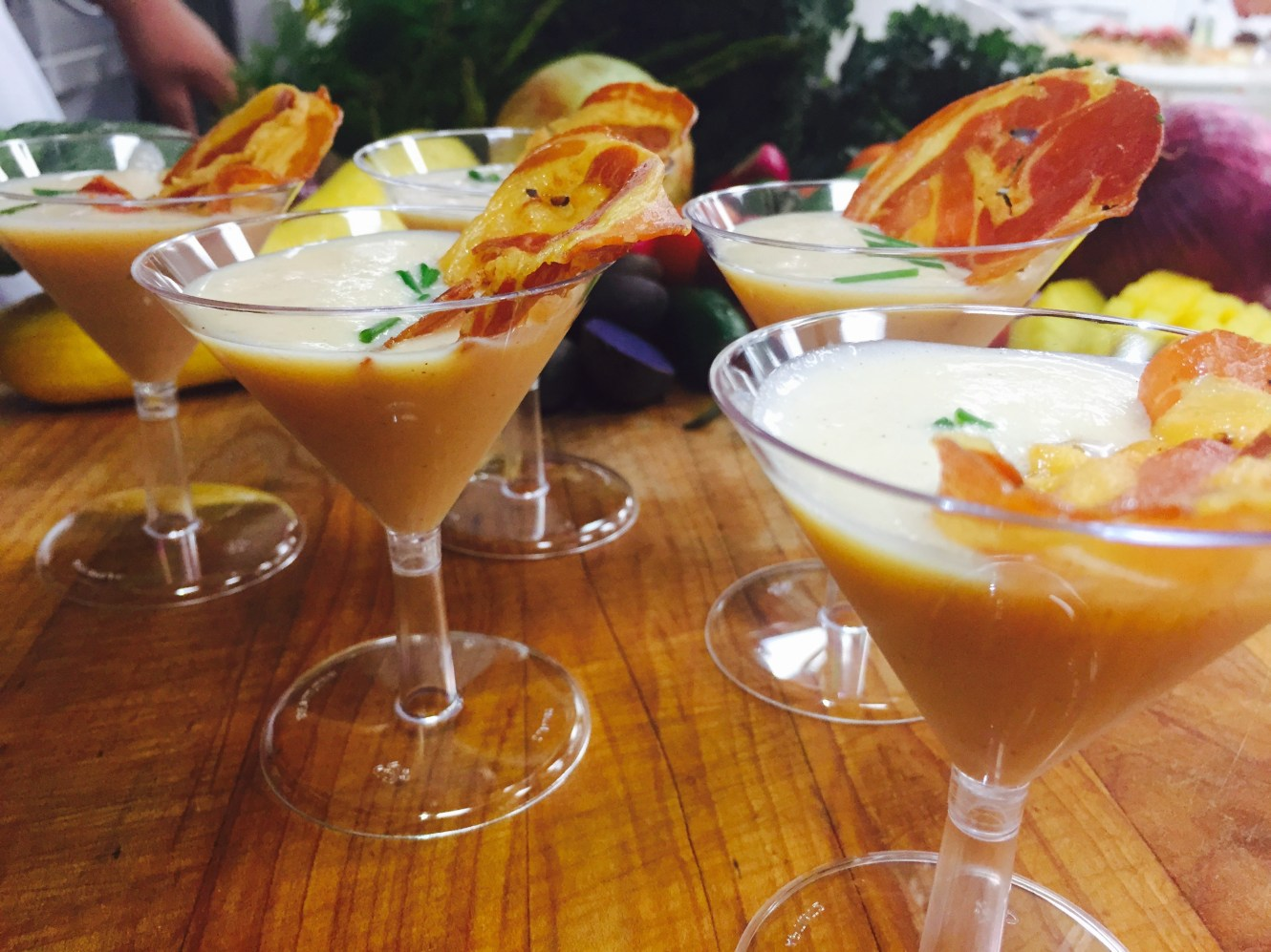 Chilled Cantaloupe Soup Shooter Topped with Crispy Prosciutto
