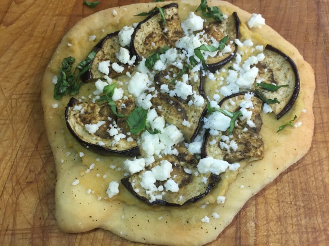 Hummus, Roasted Eggplant and Feta Cheese