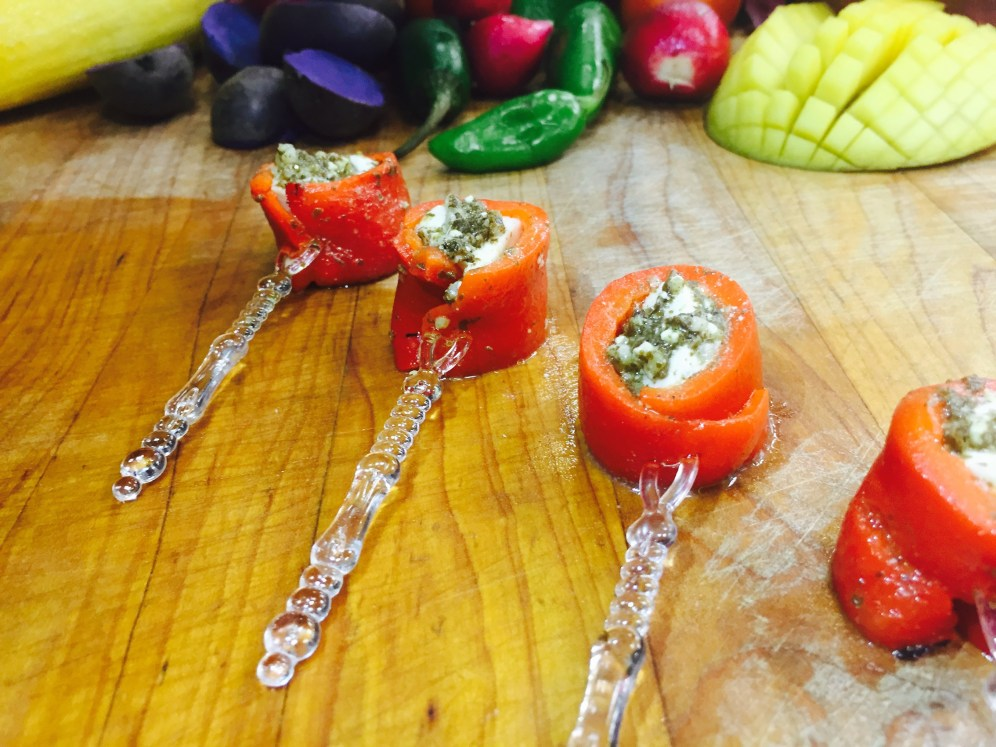 Roasted Red Pepper and Mozzarella Skewers Marinated in Pestos