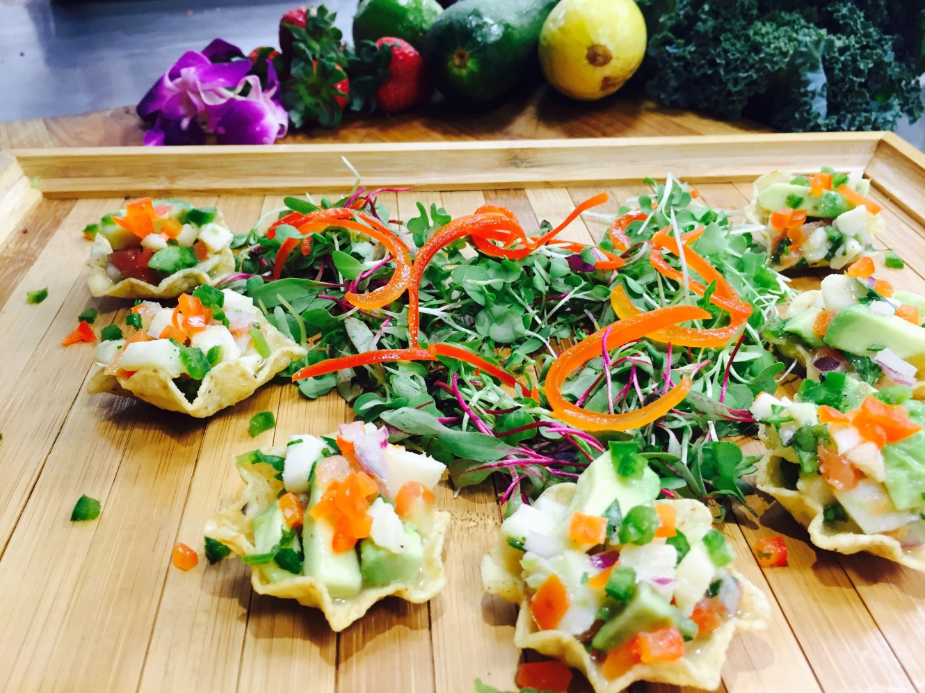 Tilapia Ceviche Served in Tortilla Cups