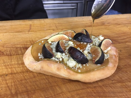 Candied Apple, Gorgonzola and Fresh Fig Drizzled with Honey