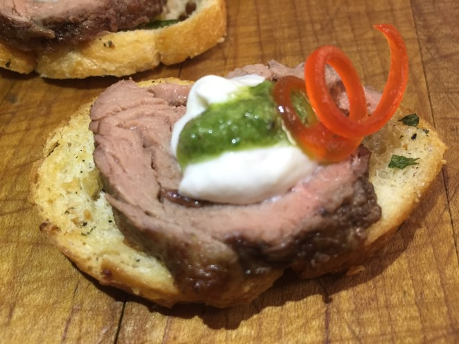 House Dry Rubbed Beef Tenderloin Crostini Topped with Horseradish Sauce