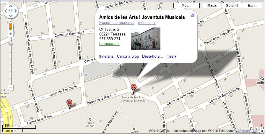 Mapa de localització d'Amics de les Arts