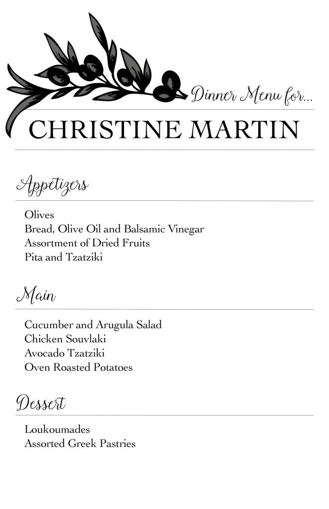 dinner party menus