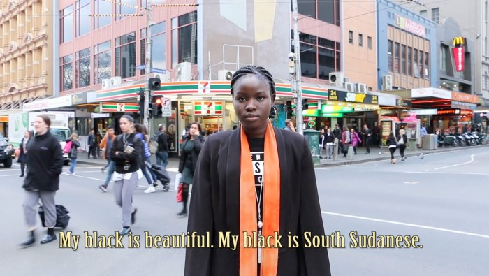 'Lit' video art work by Amie Batalibasi featuring Nyawuda Chuol. Screens at the West Projections Festival, Footscray.